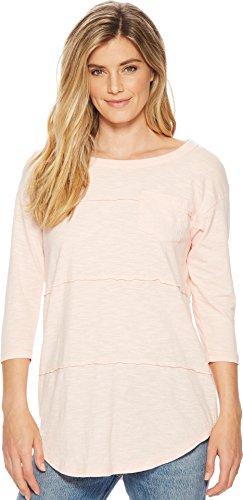 Stripe Raw Edge - Mod-O-Doc Women's Micro Stripe 3/4 Sleeve Raw Edge Seamed T-Shirt Peach Large
