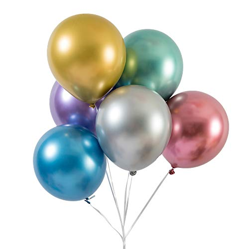 Party Balloons 50 Pcs 12 inch Metallic Balloons Latex Birthday Balloons Helium Shiny Balloons Thick Chrome Balloons for Wedding Birthday Baby Shower Christmas Party Decoration- Metallic Multicolor - Weight 21st Balloon