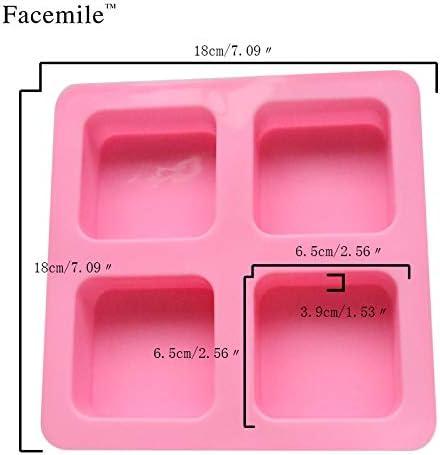 4穴正方形の手作り石鹸型 - 4穴スクエアゼリープディングモールド - 4穴正方形シリコーンチョコレート型 - 1個