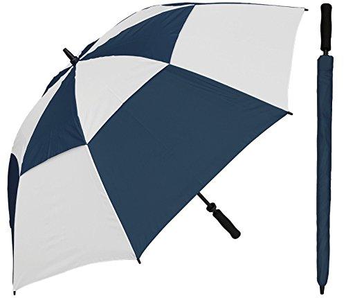 (Adjore 60 inch Navy Blue & White Alternating Golf Umbrella - Vented Double-Canopy - Manual Open - Fiberglass Shaft and Frame - Windproof Stick Umbrellas)