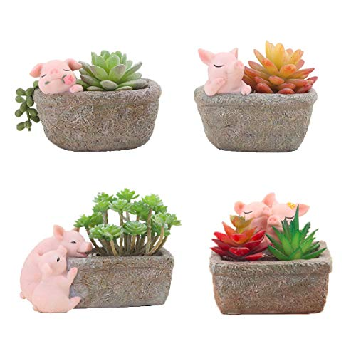 Youfui Home Decor Pot, Pig Succulent Planter Flowerpot Decor for Home Office Desk 4pcs Pigs