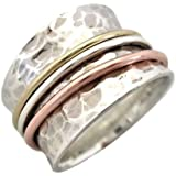 "Energy Stone ""SERENITY"" Tapered Comfort Style Meditation Spinning Ring (Style# SR12)"