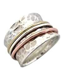 """Energy Stone """"SERENITY"""" Tapered Comfort Style Meditation Spinning Ring (Style# SR12)"""