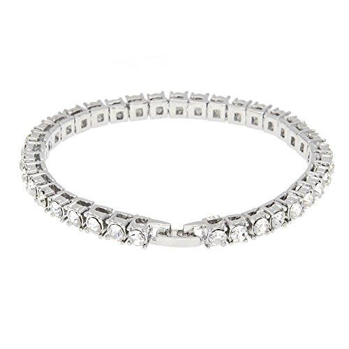 (Sinwo Women Men Hip Hop Bracelet Series Rhinestone Bracelet Chain Bling Crystal Bracelet Gift (Silver))