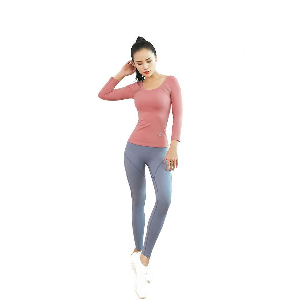 WULAU Yoga Wear Set, Damen Sportswear Wear und Top & Leggings Stretch-Fit Yoga Gym Set Übung Damen Training Bekleidung Langarm Laufhose Damen Yoga Anzug Fuer Yoga Fitness-Training