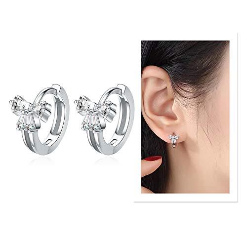 Cute Bow Tie Small Hoop Earrings 925 Sterling Silver,Small/Tiny/Mini/Little Austrian crystal Huggie Hoop Earrings, Ideal Gift for Women Girl