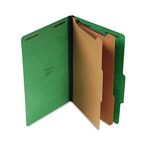 Universal 10312 Pressboard Classification Folders, Legal, Six-Section, Emerald Green, 10/Box