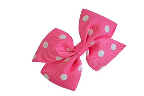 Funny Girl Designs 3.5 Inch Polka Dot Pinwheel Bow (Alligator Clip, Hot Pink with White Dots)