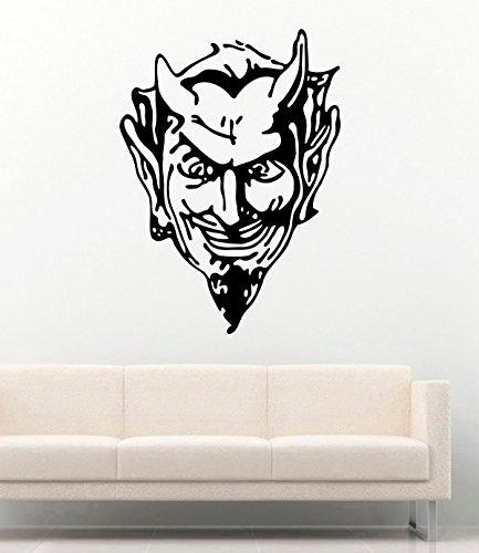 Vinyl Wall Decal - Halloween Face Devil with Horns Diablo Evil Halloween Devil Demon - Home Decor Sticker Vinyl Decals -
