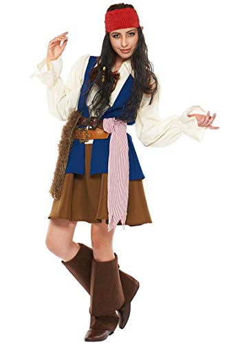 Pirates of the Caribbean Jack Sparrow Costume, Teen/Women STD Size -
