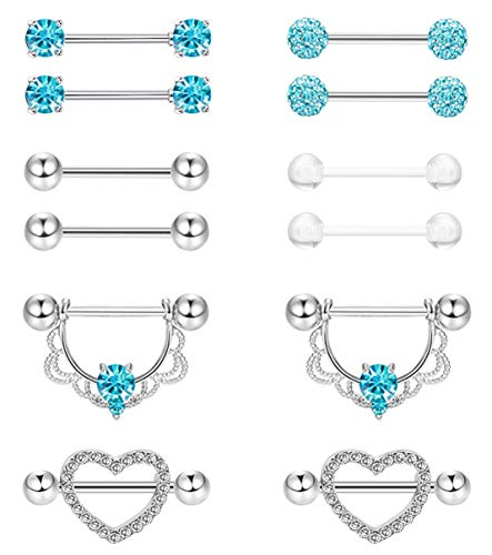 Masedy 6 Pairs 14G 316L Stainless Steel Nipplerings Nipple Tongue Rings Women Girls CZ Barbell Body Piercing Jewelry Blue
