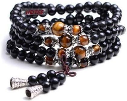 Li_unmio Nuevo/color de la moda ojo de tigre negro meditación de piedras preciosas budista budista tibetano 108 granos de oración mala pulsera/collar