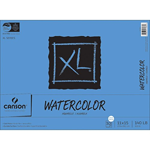 Canson XL Series Watercolor Textured Paper Pad for Paint, Pencil, Ink, Charcoal, Pastel, and Acrylic, Fold Over, 140 Pound, 11 x 15 Inch, 30 (Line Stamp Sets)