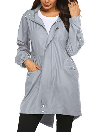 - Doreyi Long Rain Jacket Soft Shell Juniors Rain Jacket Hoodie for Women Girls Adult Cute Waterproof with Hood Sports Jacket Grey