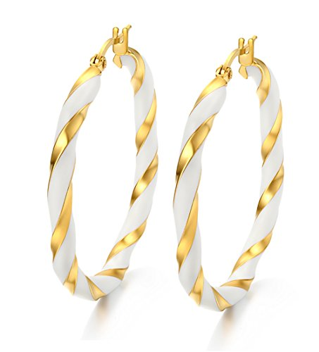 Huanian Jewelry Stainless Steel Women's White&18k Gold Plated Twist Rope Click-Top Big Hoop Earrring