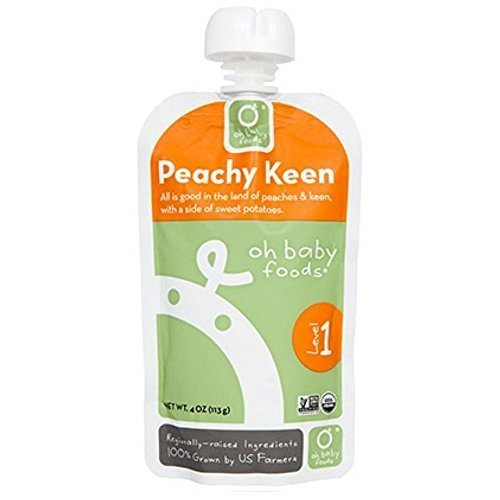 Oh Baby Foods Organic Peachy Keen Baby Food, 4 Fluid Ounce -- 6 per case. by Oh Baby Foods