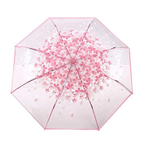 Umbrellas - Three Folds Romantic Sakura Pink Cherry Pattern Clear Rain Umbrella With Crystal Handle - Half Designer Color Reversible Multi Kors Garden Dog Cocktail England