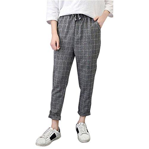 Sunbona Women Wide Leg Pants, High Waist Striped Cotton Linen Elastic Waist Casual Loose Trousers (Gray B, M) (Stretch Cotton Belted)
