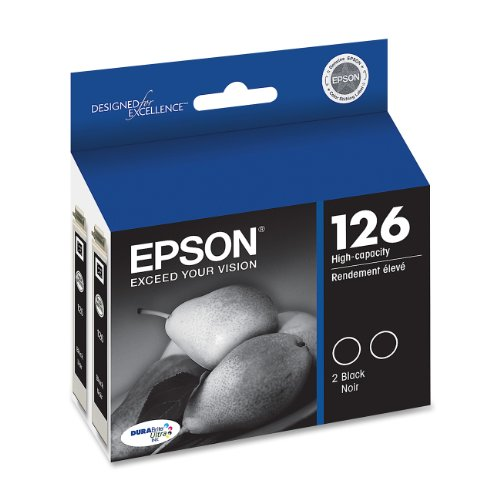 520 Black Inkjet - Epson T126120-D2 DURABrite Ultra Black Dual Pack High Capacity Cartridge Ink