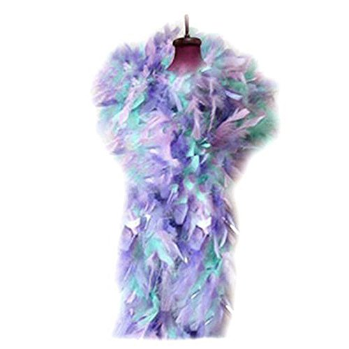 SACASUSA (TM) Fashion 100g Feather Chandelle Boa 6 feet long (7 colors to Pick) (Pastel Silver Tinsels) - Lavender Boa