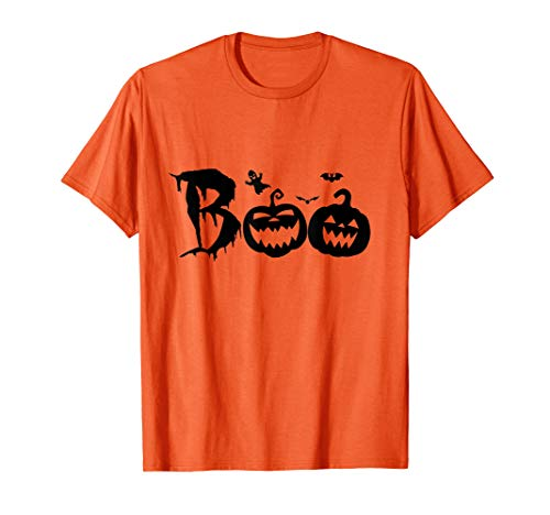 Funny Boo Pumpkin Halloween Costume With Bat And Ghost T-Shirt -