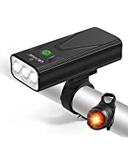 EBUYFIRE USB oplaadbare fietsverlichting set, 3000 lumen fiets koplamp 3 LED 【Upgrade Mount】, super heldere koplamp voorlichten en achter LED achter, 3 lichtmodus past op alle fietsen, berg, weg