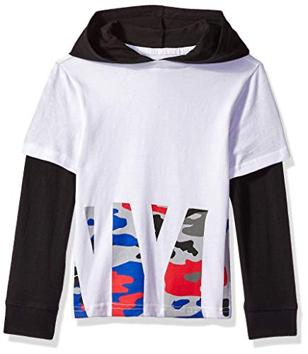Crazy 8 Boys' Big Long Sleeve Hooded 2-Fer Graphic Tee, White/Multi camo New York City, 4T