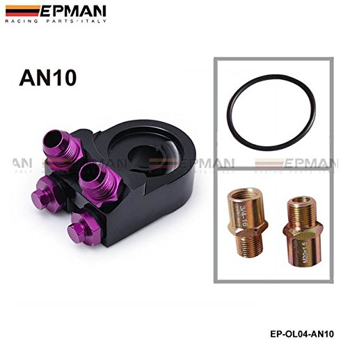 EPMAN Aluminum Oil Cooler Adapter Sandwich AN10 Turbo T3 T4 Engine Plate AN10 black EP-OL04-AN10 Bo Luo