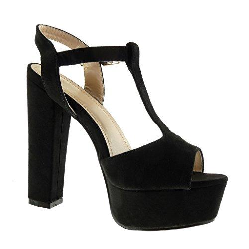 Angkorly - Chaussure Mode Sandale salomés Peep-Toe plateforme femme boucle Talon haut bloc 13 CM - Noir
