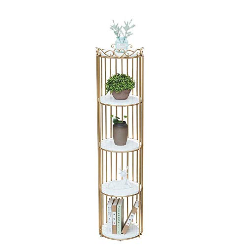 Jcnfa-Shelves Metal Frame Bookshelves Standing Shelving Storage Plant Stand Storage Shelf for Garden Bathroom Living Room (Color : Gold+White, Size : 14.9614.9662.99in) from Jcnfa-Shelves