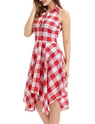 Women Sleeveless Plaid Irregular Hem Tops Shirt Casual Shirt Dress