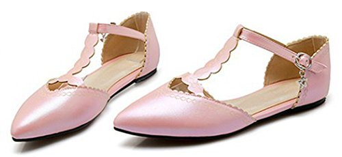 Sfnld Mujer's Pointing Toe Low Cut T-strap Pendant Hollow Out Flats Zapatos Con Hebilla Rosa