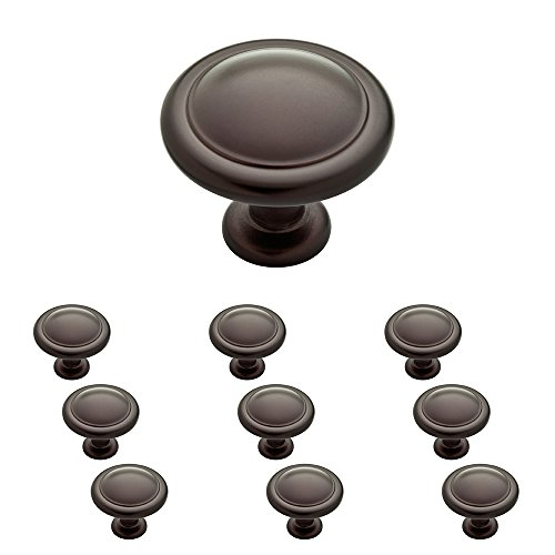 Franklin Brass P35597K-OB3-B, 1-1/4 inch Round Ringed Kitchen Cabinet Drawer Knob, Oil Rubbed Bronze, 10-Pack,