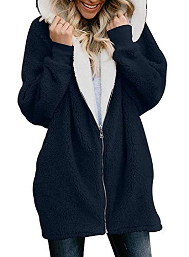 Used, LEISHOP Women Casual Fuzzy Fleece Hooded Pocket Faux for sale  Delivered anywhere in Canada