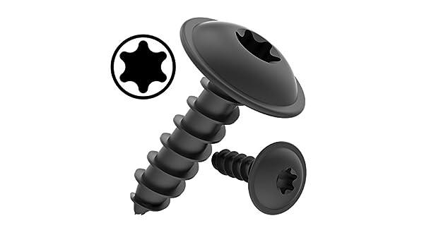 100 piezas 100 AUPROTEC Tornillos de chapa 4,2 x 25 mm TORX con cabeza de arandela tornillo alomado cincado negro DIN 7049-4,2 x 25 mm