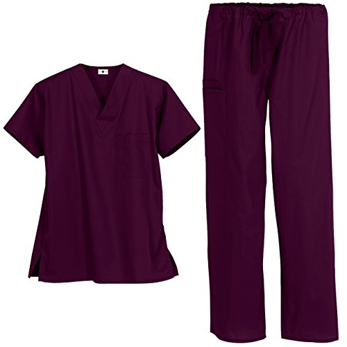 Unisex Medical Uniform Scrub Set - Includes V-Neck Top and Drawstring Pant (XS-3X, 13 Colors) (Large, Wine)