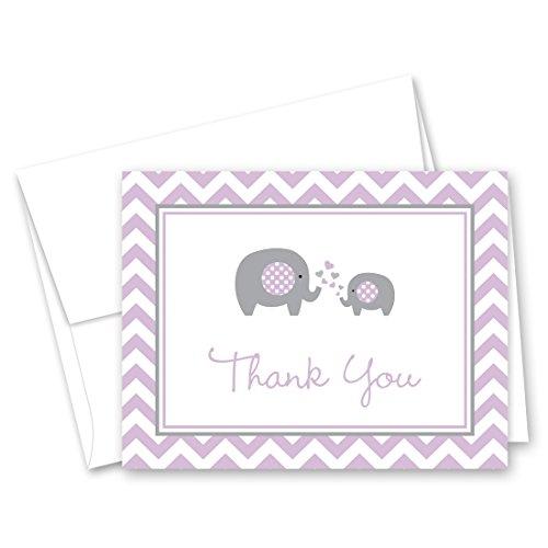 MyExpression.com 50 Purple Chevron Elephant Baby Shower Thank You - Note Folded Chevron