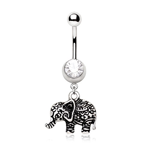 Amelia Fashion 14GA Henna Elephant Dangle Belly Button/Navel Ring 316L Surgical Steel (Antique Elephant)