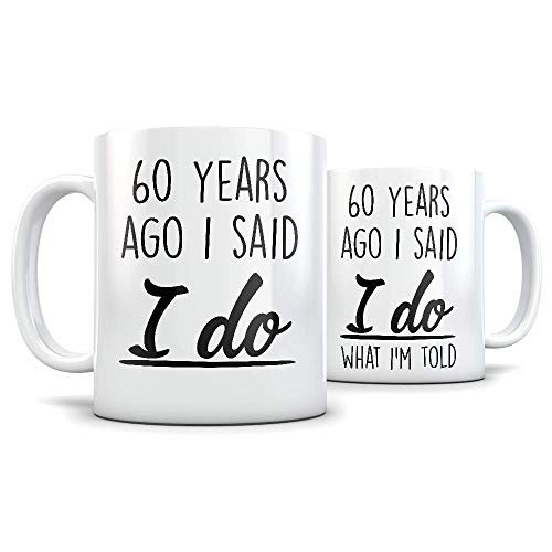 60th Anniversary Gift for Couple - Funny 60 Year Wedding Anniversary for Men and Women - Him and Hers Marriage Coffee Mug Set I Love You for Parents or Friends
