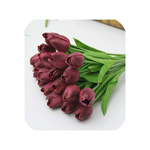 Small Basketball 1PCS Mini Tulip Flower Real Touch Wedding Birthday Party Flower Bouquet Artificial Silk Flowers for Home Party Decoration,Burgundy