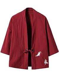 Men's Cotton Blends Linen Open Front Cardigan Kimono Jackets