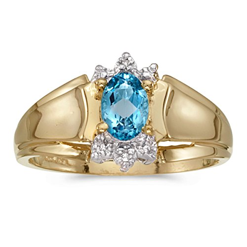 - 0.40 Carat (ctw) 14k Yellow Gold Oval Blue-Topaz and Diamond Accent Anniversary Fashion Ring (6 x 4 MM) - Size 4.5