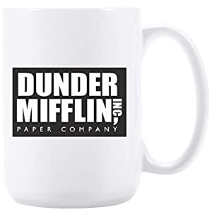 Coffee mug with DUNDER MIFFLIN, WORLD's BEST BOSS 15 oz Funny Ceramic Coffee/Tea/Cocoa Mug Surprise your boss/colleague/family/friend with this cute mug novelty gift (white)