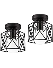 Vintage Semi Flush Mount Ceiling Light INNOCCY E27 Base Industrial Metal Cage Ceiling Fixture for Country Hallway Kitchen Garage Porch Bathroom 2 Pack