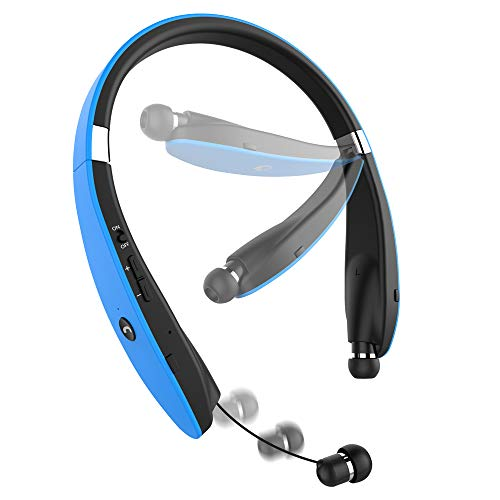 Bluetooth Headset, Wireless Pandawill 4.1 Bluetooth Headphones Retractable/Foldable Style Headset with Mic for ISO Android Other Bluetooth Enabled Devices (Blue)