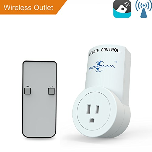 Electric Outlets Switches (Goronya Wireless Outlet Switch with Remote,Electrical Plug Outlet Control for Household Appliance Lamp Light Etc (1 Plug / 1 Remote))