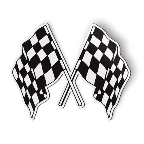 AK Wall Art Checkered Flags Racing - Magnet - Car Fridge Locker - Select Size