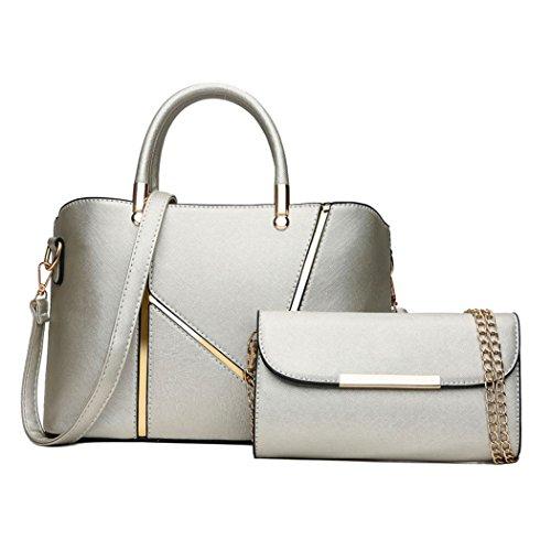 hombro Carteras bandolera Bolsos Mujer clutches de de Shoppers y Plateado bolsos y mano YnwYqI04