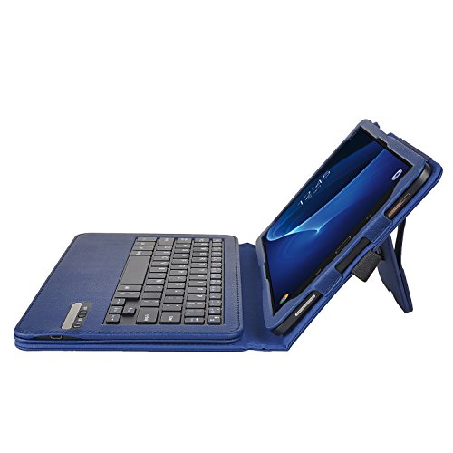 Galaxy Tab A 10.1 Keyboard case, IVSO Ultra-Thin PU Leather DETACHABLE Wireless Keyboard Stand Case/Cover for Samsung Galaxy Tab A SM-T580N/SM-T585N 10.1-inch 2016 Tablet(Blue) by IVSO (Image #3)
