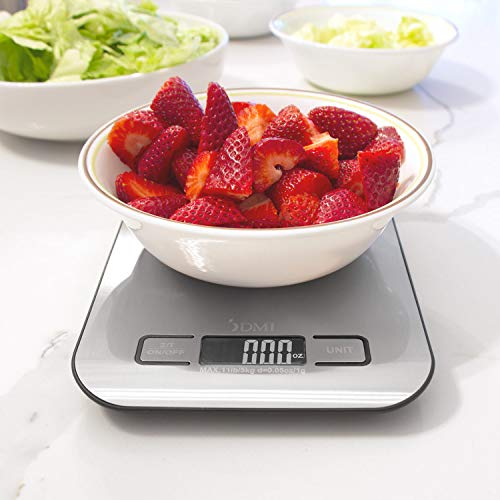 DMI Digital Kitchen Scale for Cooking, Baking and Meal Prep, Withstands up to 11 Pounds of Weight, Measures Units Between oz, g, mL, lb, oz, 304 Stainless Steel